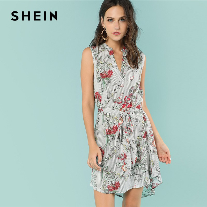 f8870d2988 SHEIN Multicolor Vacation Boho Bohemian Beach Floral Mixed Print V Cut Neck  Belted Asymmetrical