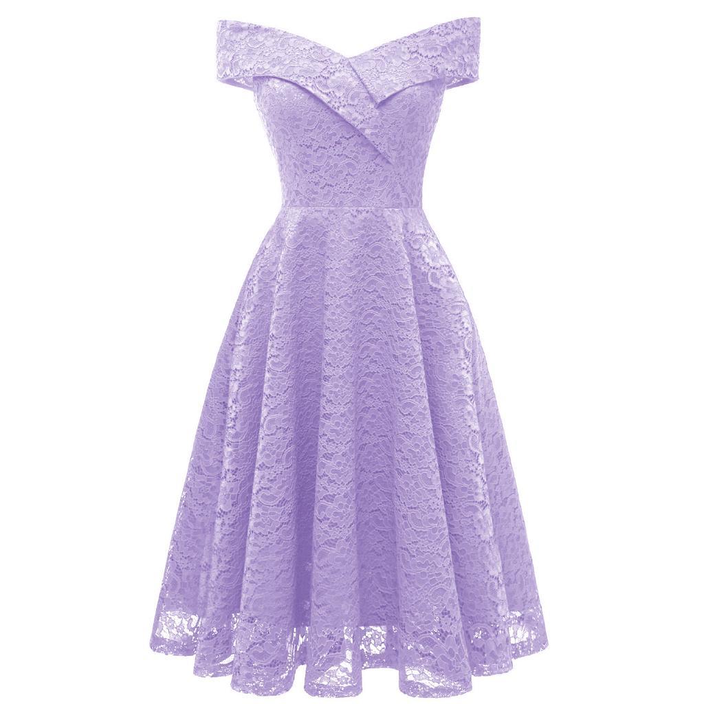 Fm Dress Pesta Model Off Shoulder Flare Bahan Lace Untuk Wanita