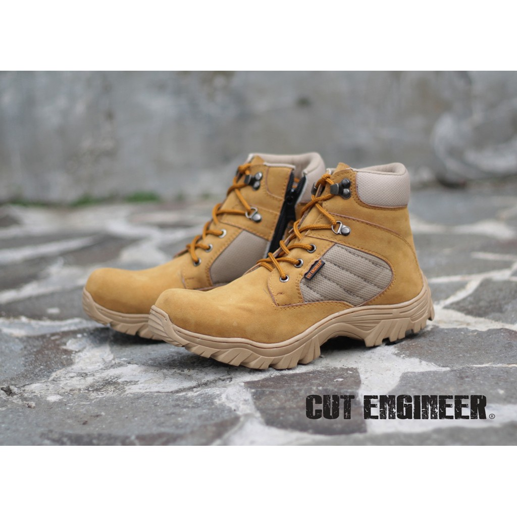 Cut Engineer Safety Boots Iron Suede Leather Soft Brown New Sole Shoes Black Shopee Indonesia