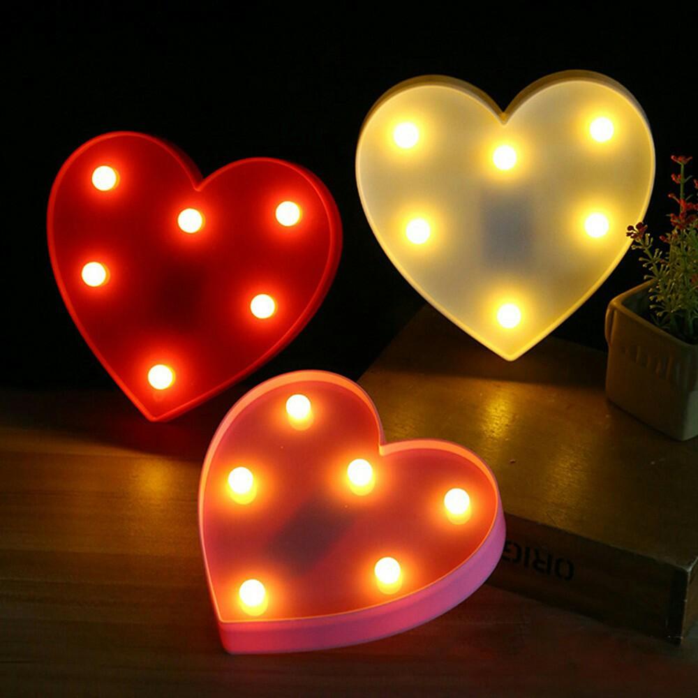 3d Love Heart 6 Led Lamp Night Light Marquee Lampu Hias Love Heart Hati Shopee Indonesia