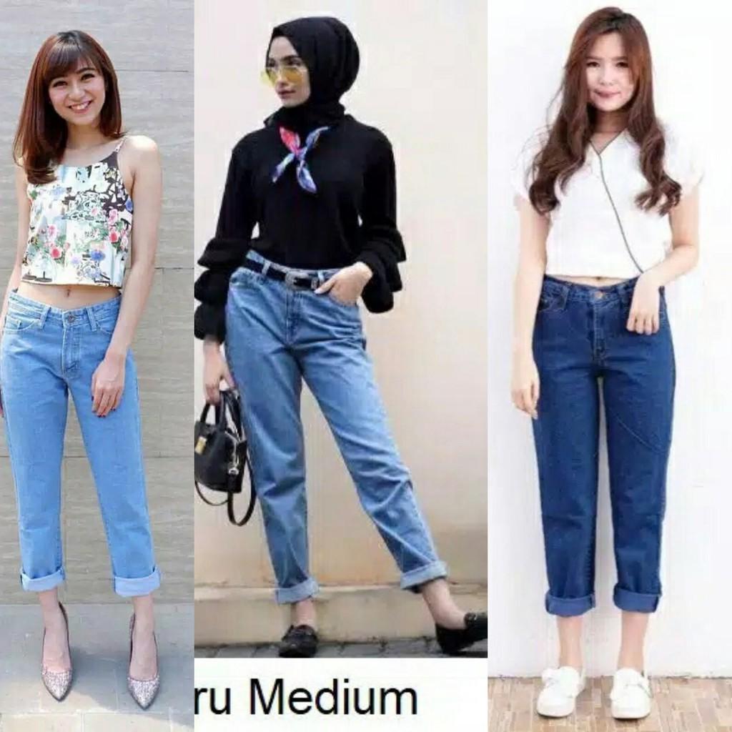 Celana Jeans Boyfriend Plain Jeans Celana Jeans Wanita Terlaris Celana Jeans Wanita Kekinian Shopee Indonesia