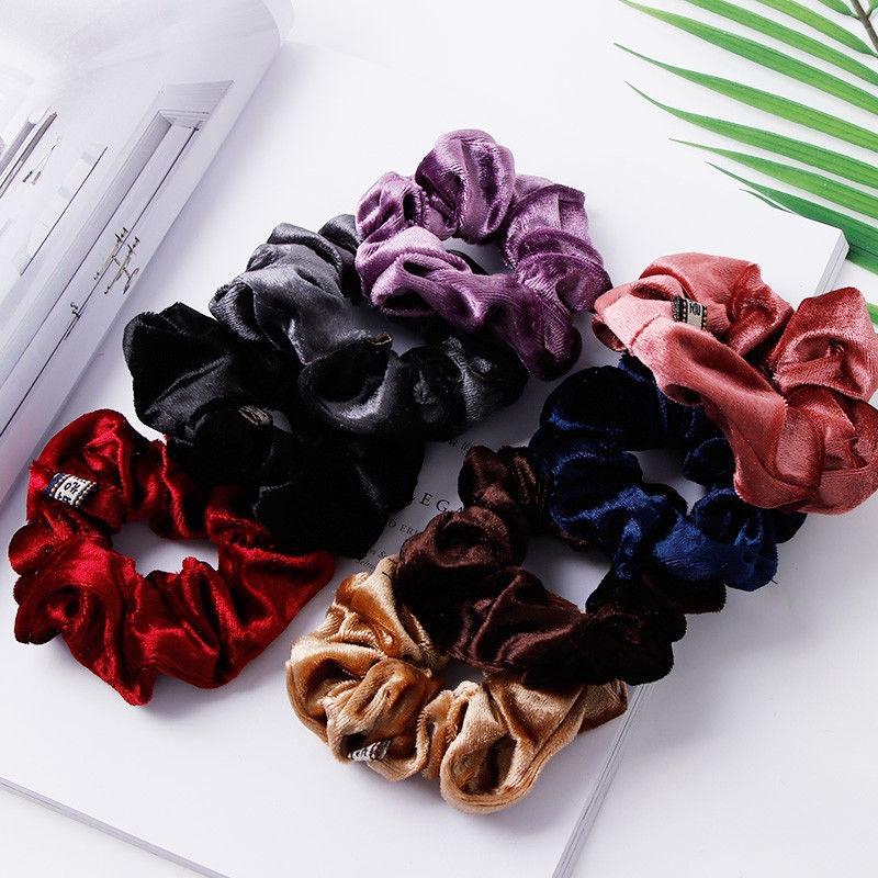 Lots 10 Soft Fleece Hair Scrunchies Bobbles Hair Bands Scrunchy Hair Tie Ropes