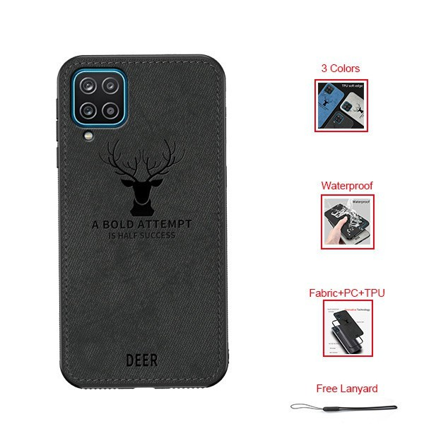 Samsung Galaxy A12 Fabric Case Deer Texture Canvas Soft Covers+Free Lanyard