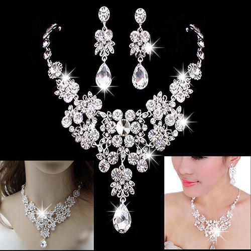 [Bayar Di Tempat]Set Perhiasan Anting-anting Kalung Berlian Palsu Kristal Pesta Pernikahan | Shopee Indonesia