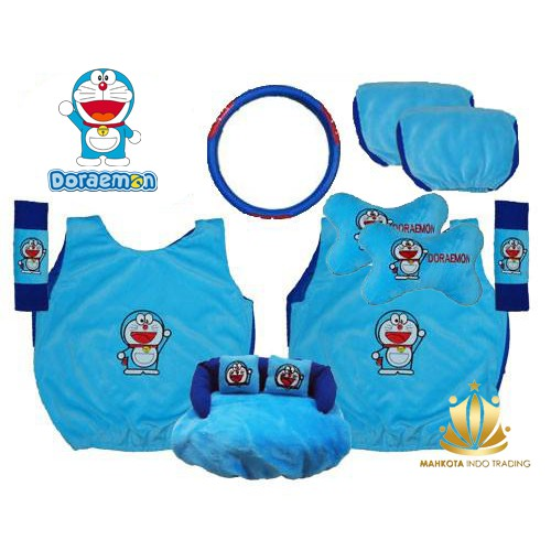 Car Set / Sarung Jok Doraemon Mobil 24 in 1 Bantal Mobil 24in1 Doraemon - Biru (3 Baris)   Shopee Indonesia
