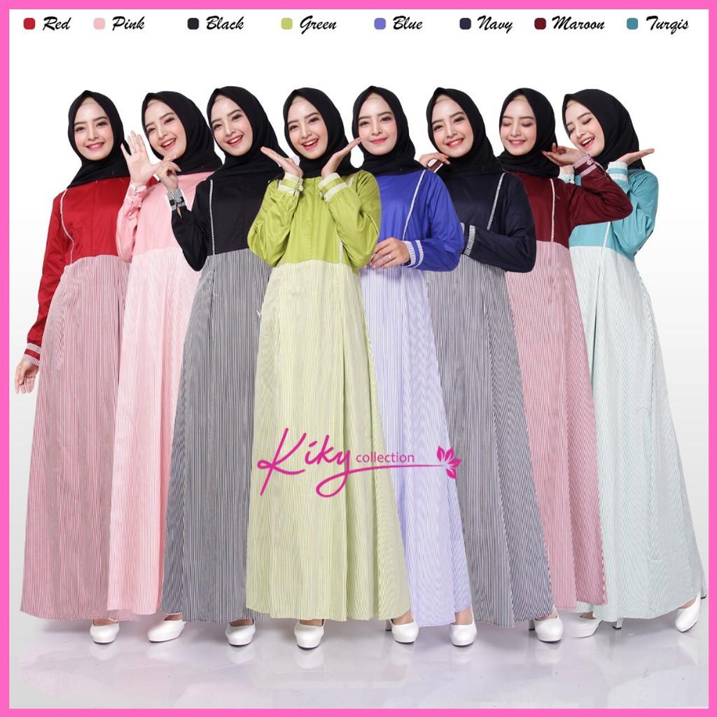 Gamis Katun Jepang Ory busana Kombinasi Rania Salur Polos Size S M L XL