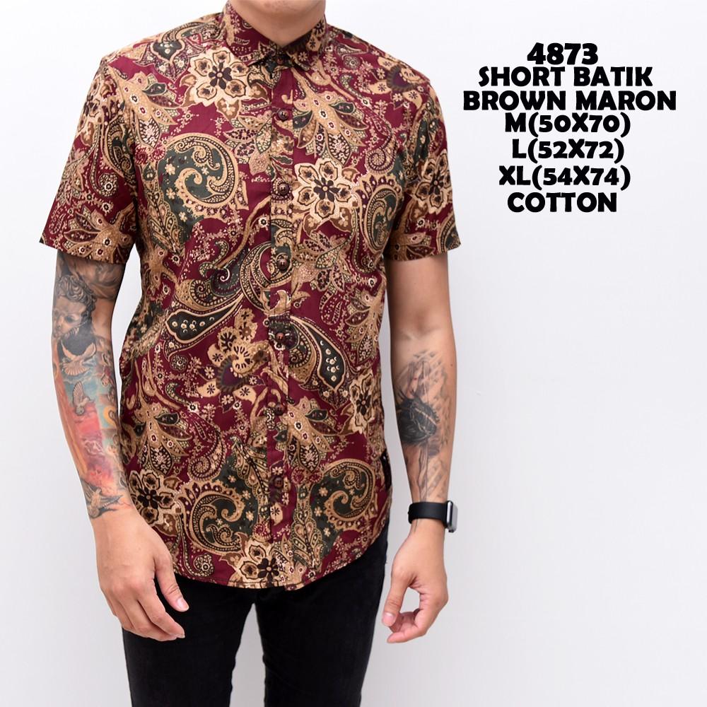 4873 Baju Kemeja Batik Lengan Pendek Pria Cowok Coklat