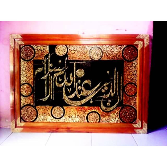 Hiasan Dinding إن الدين عند الله الإسلام Horizontal Kaligrafi Kulit Telur Kaligrafi Kulit Padi