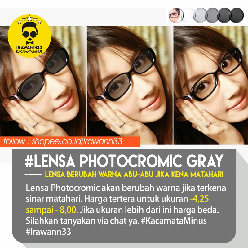 LENSA ANTI UV ~ Lensa PHOTOCROMIC GRAY (ABU-ABU) ukuran -4 8b6000c306