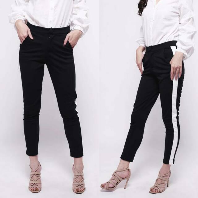 Side Stripe Pants Celana Panjang Garis Samping Shopee Indonesia