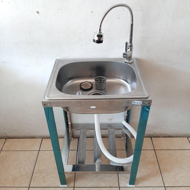 Paket Kitchen Sink Royal Sb 42 K Kran Tempat Cuci Piring Kaki Meja Wastafel Shopee Indonesia