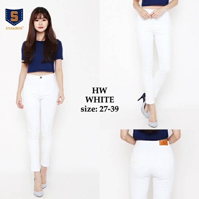 Celana Jeans Wanita Syakbos Highwaist Whitesoft jeans sobek ripped bigsize jumbo birdie cutbray | Shopee Indonesia