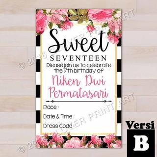 Isi 10 Kartu Undangan Ulang Tahun Birthday Invitation Remaja Sweet Seventeen Shopee Indonesia