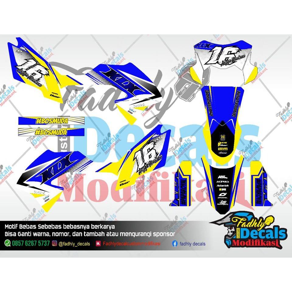 Decal KLX BF Biru Putih Kuning