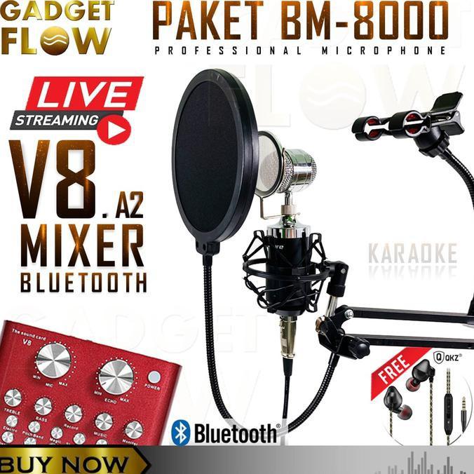 PAKET Mic BM8000 BM 8000 Full Set LIVE STREAMING Mixer V8 A2