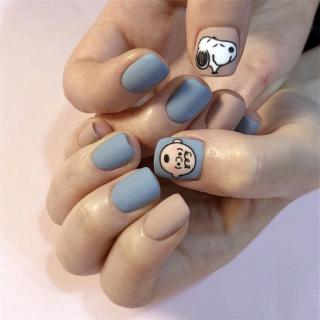 24 Kotak Stiker Kuku Palsu Motif Snoopy Warna Biru Muda Dapat Dilepas thumbnail