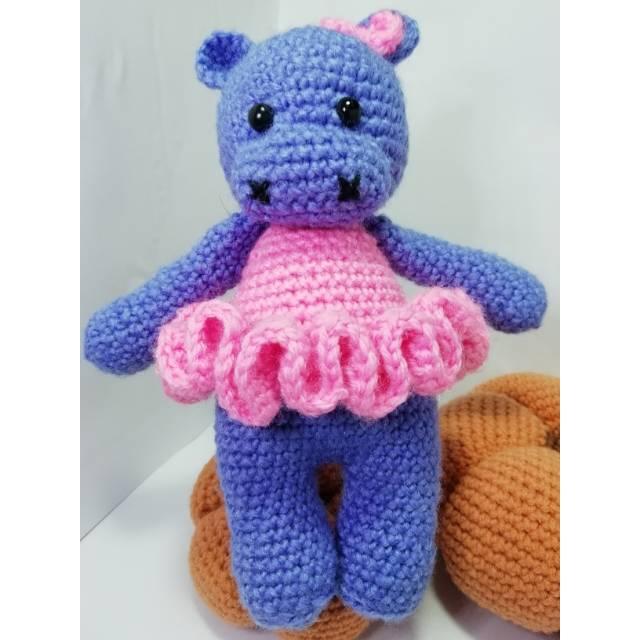 Ballerina Hippo Crochet Amigurumi Stuffed by HookAndStitches ...   640x640