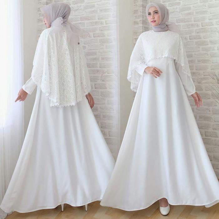 Ss14 Baju Murah Gamis Pesta Wisuda Muslim Brokat Brukat Ayla Warna Putih