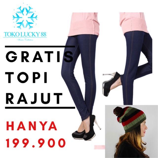 Import Celana Legging Thermal Jeans Lapis Bulu Winter Musim Dingin Shopee Indonesia