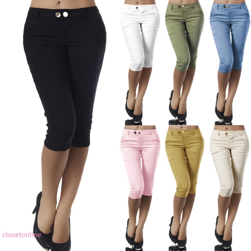 Ladies Chino Stretch 3//4 Cropped Jeans 10-20