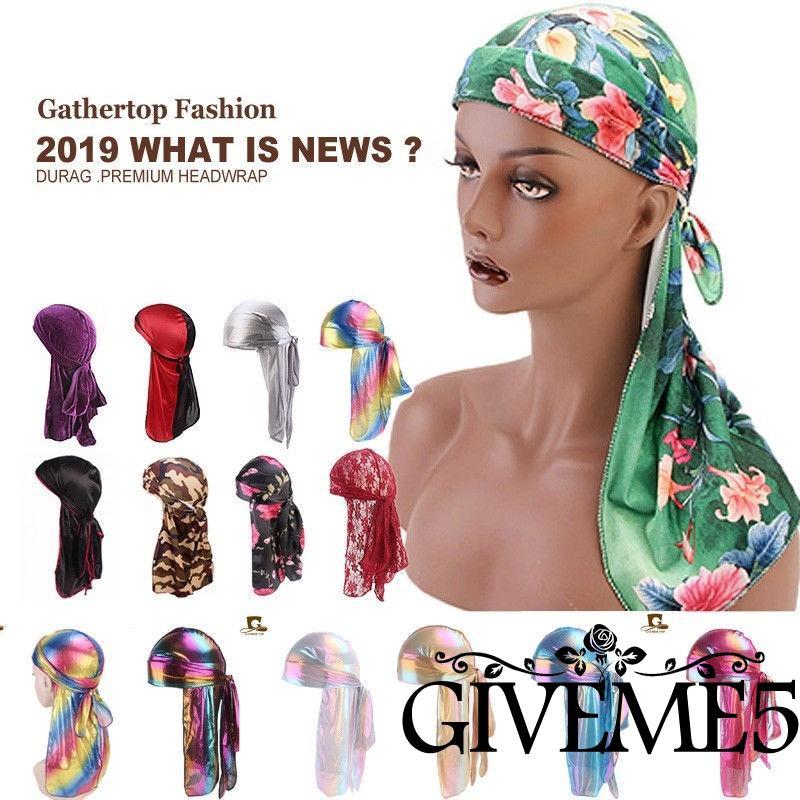 Unisex Headwrap Men Women Bandana Turban Cap Durag do doo du rag Long Tail Hat