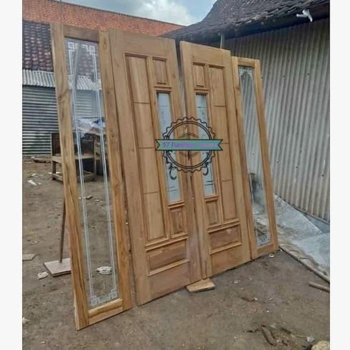 1 Set Pintu Jendela Kaca Kusen Untuk Rumah Minimalis Kayu Jati Jepara Shopee Indonesia