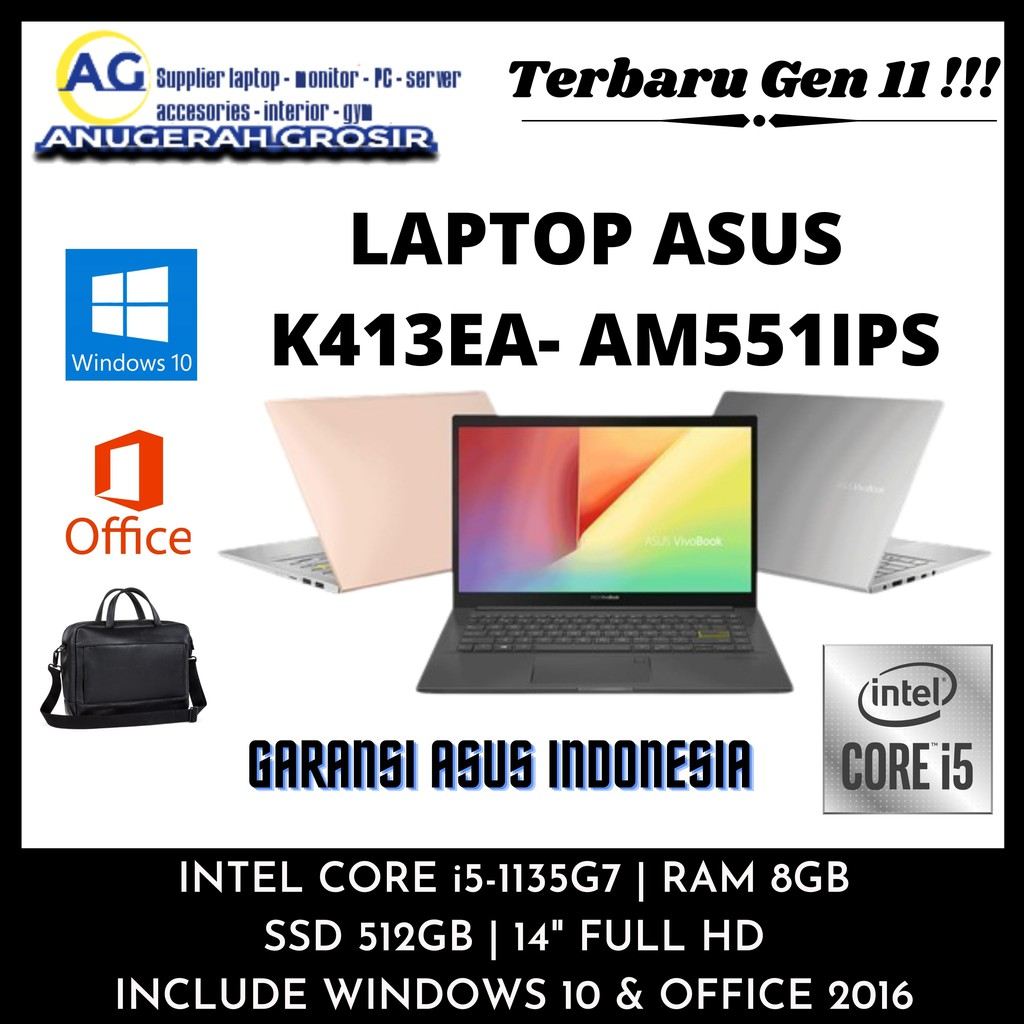 "TERBARU LAPTOP ASUS CORE I5 GEN11 RAM 8GB SSD 512GB 14"" FHD WIN10 RESMI K413EA-AM351TS"