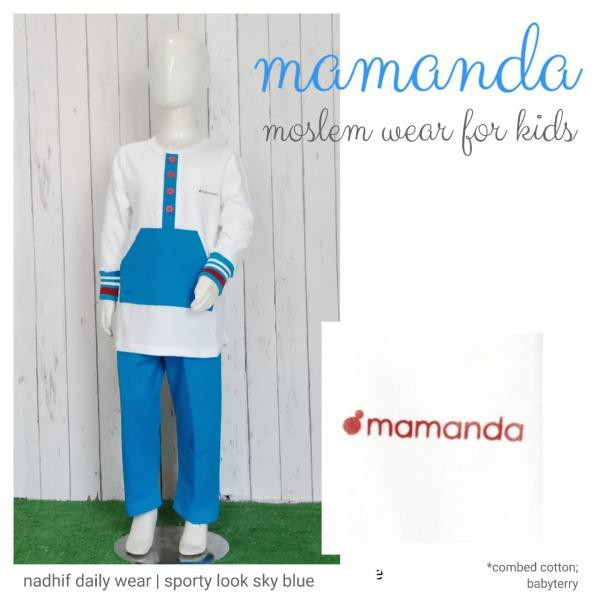 Koko Anak Sky Blue Nadhif Daily Wear Sporty Look by Mamanda