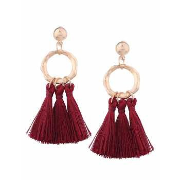 LRC Anting tusuk Fashion Olive Fuzzy Ball Decorated Long Pom Earrings | Shopee Indonesia
