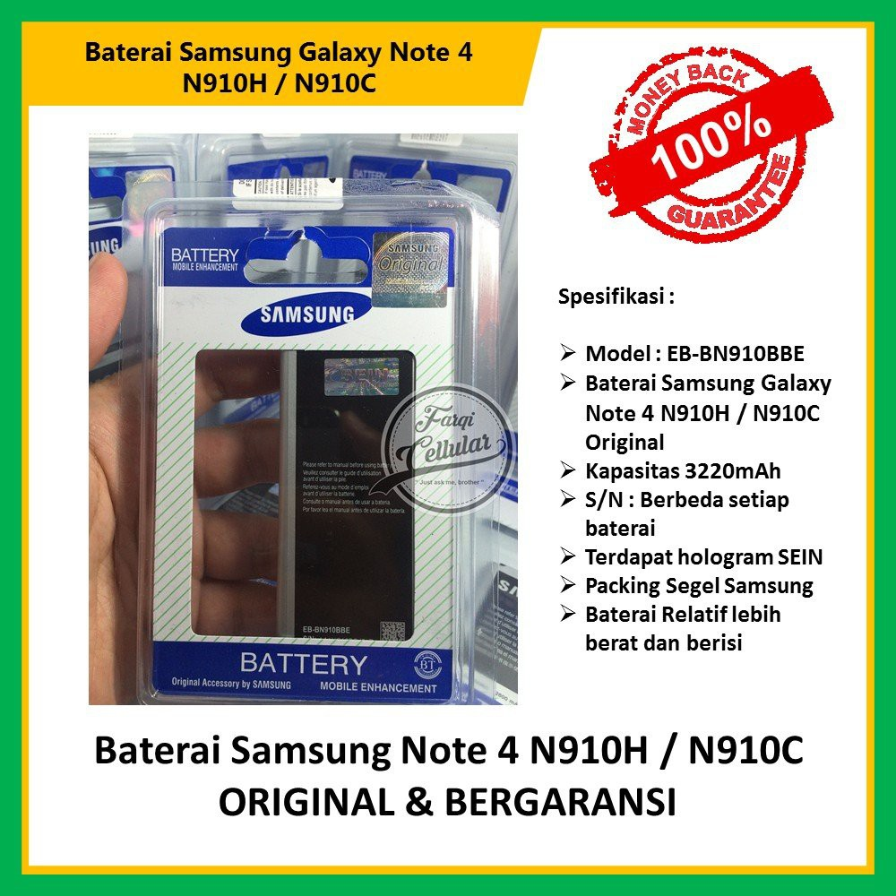 Baterai Samsung Galaxy Note 4 N9100, N910C Original 100%   Shopee Indonesia