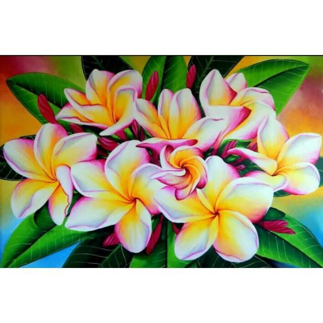 Lukisan Bunga Kamboja Lukisan Bali Lukisan Indah Shopee Indonesia