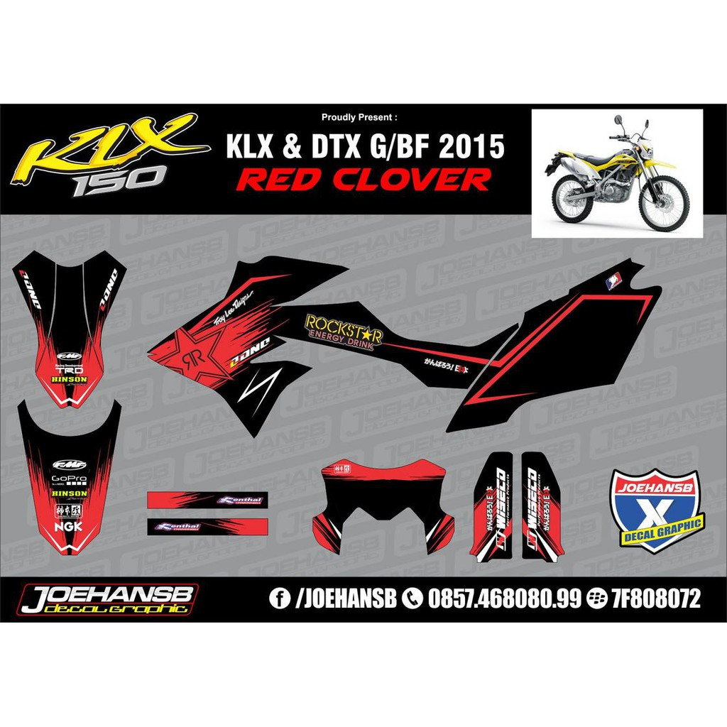 Decal sticker klx g bf 150cc rockstar merah shopee indonesia