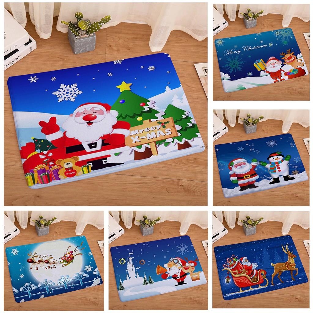 Flanel Tahan Air Selamat Datang Tikar Lucu Kartun Natal Karpet Kamar Tidur Karpet Dekoratif Tangga