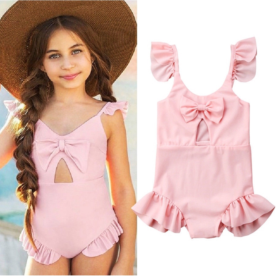 Toddler Kids Baby Girl Bikini Ruffle Swimwear Bathing Swimsuit with Hat 3pcs Set