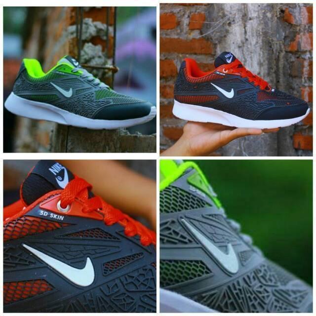 SEPATU ORIGINAL MURAH Sepatu Sport Nike Airmax Flyknit 3D Skin Hitam Merah  Running  ba5cdcf978