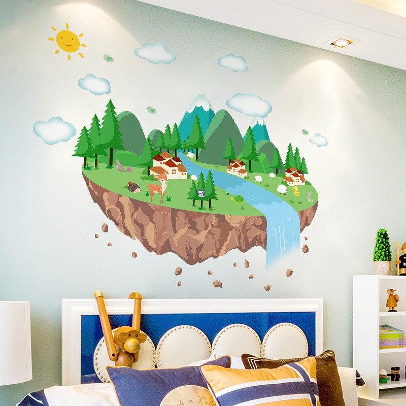 3d Three Dimensional Creative Children S Room Baby Room Cartoon Wall Sticker Kindergarten Counseling Agency Cultural Wall Decoration Stickers Shopee Indonesia