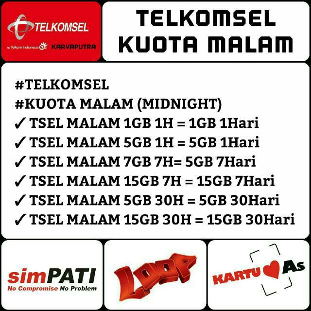 Telkomsel Kuota Malam 1gb 2gb 5gb 10gb 15gb Isi Ulang Kuota Malam Telkomsel Midnight Shopee Indonesia
