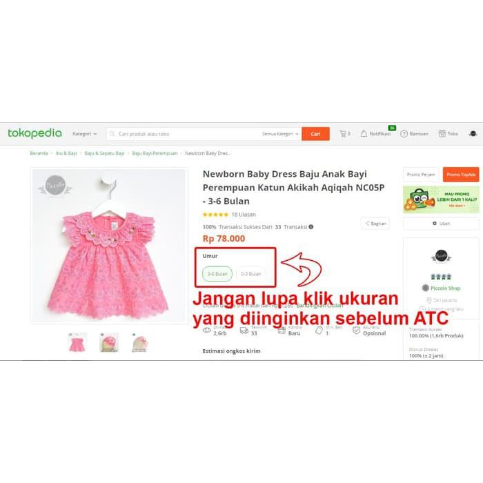 Promo Newborn Baby Dress Baju Anak Bayi Perempuan Katun Akikah