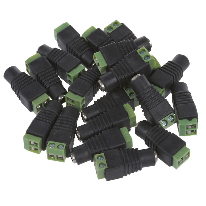20pcs Male+Female DC Power Jack Connector Adapter Plug 2.1 x 5.5mm for CCTV