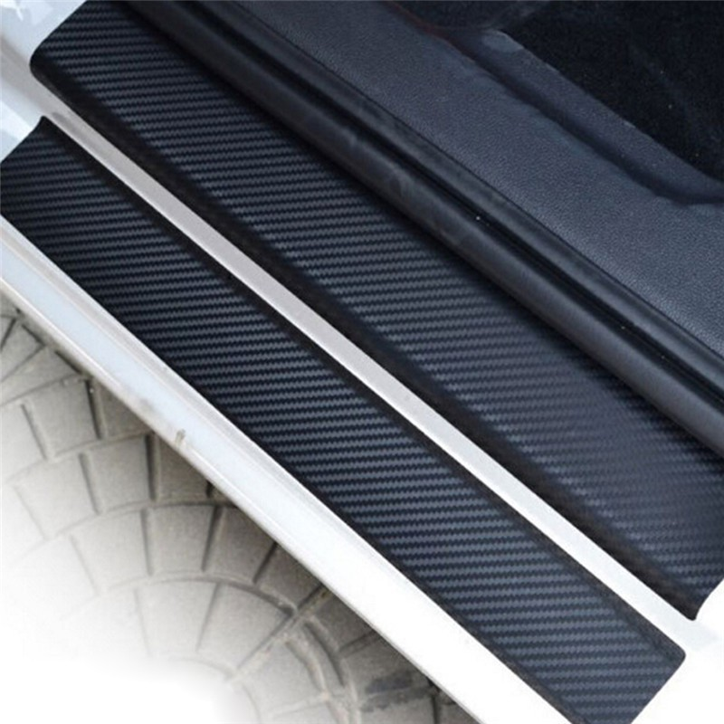 4pcs//set Carbon Fiber Look Car Door Plate Sill Scuff Cover Sticker Anti Scratch