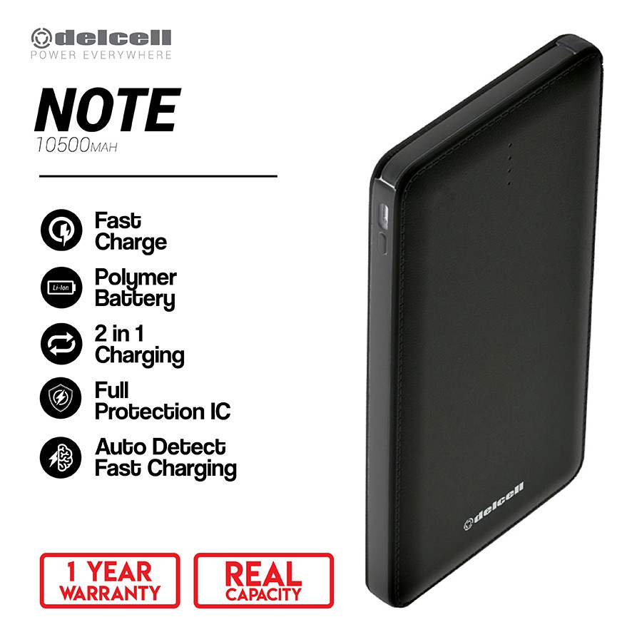Delcell Note Powerbank 10.500mAh Real Capacity