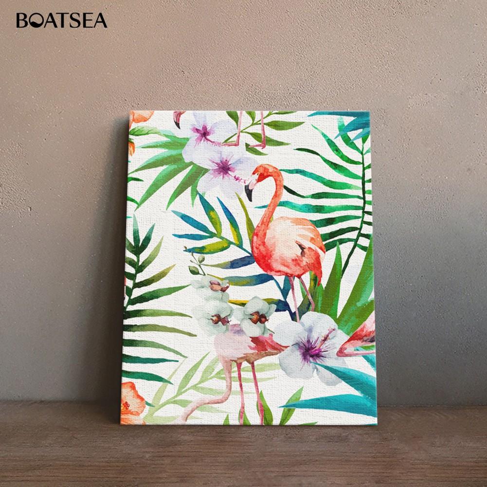 Lukisan Cat Minyak Desain Burung Flamingo Tanpa Bingkai Shopee Indonesia