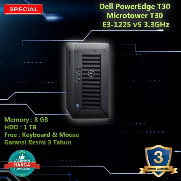 PowerEdge T30 Mini Tower Server Intel Xeon E3-1225 v5,8GB,1TB Garansi Resmi  3 Tahun