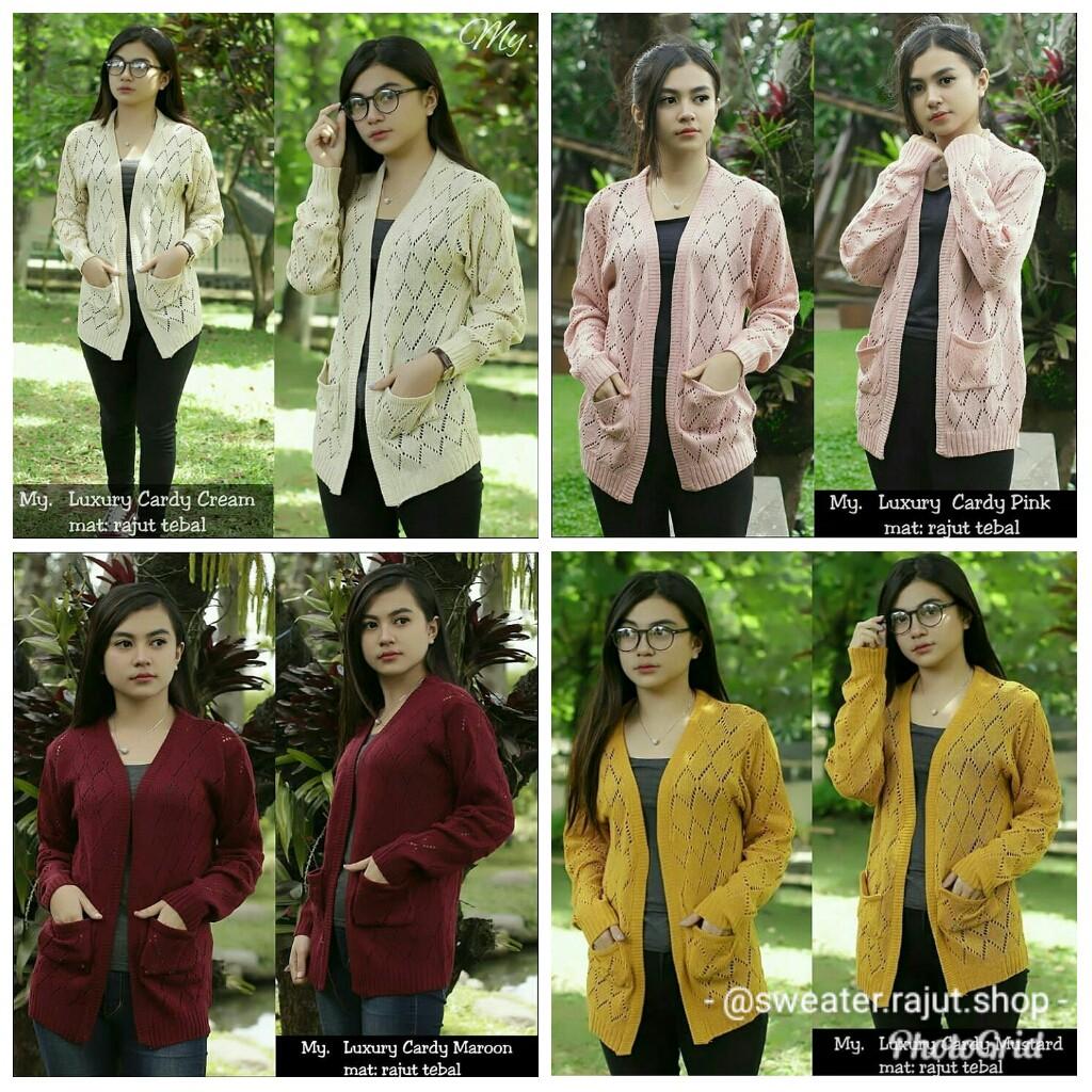 Luxury Cardy Cardigan Wanita Sweater Rajut Cardi Premium Olive Basic Atasan Murah Shopee Indonesia