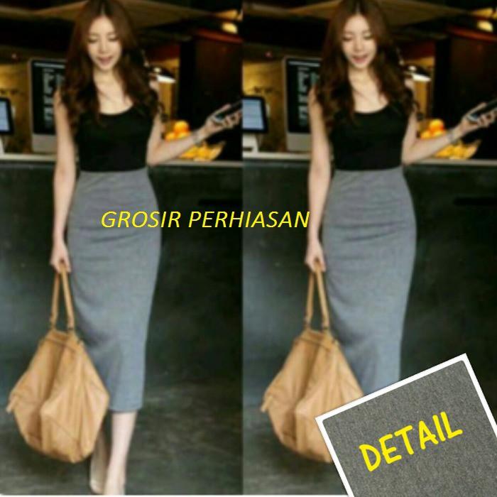Terbaik Dress Hitam Abu   Gaun Pesta Black Gray   Longdress   Fashion Murah   7028403617