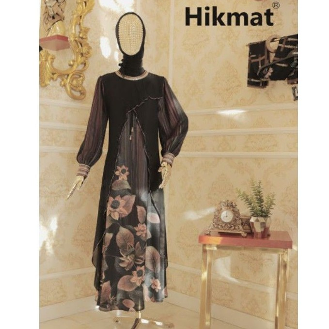 AS19 [A4155] ABAYA HIKMAT, Gamis, Syari, Motif Batik, Fashion, Muslimah, Premium, Abaya Hitam