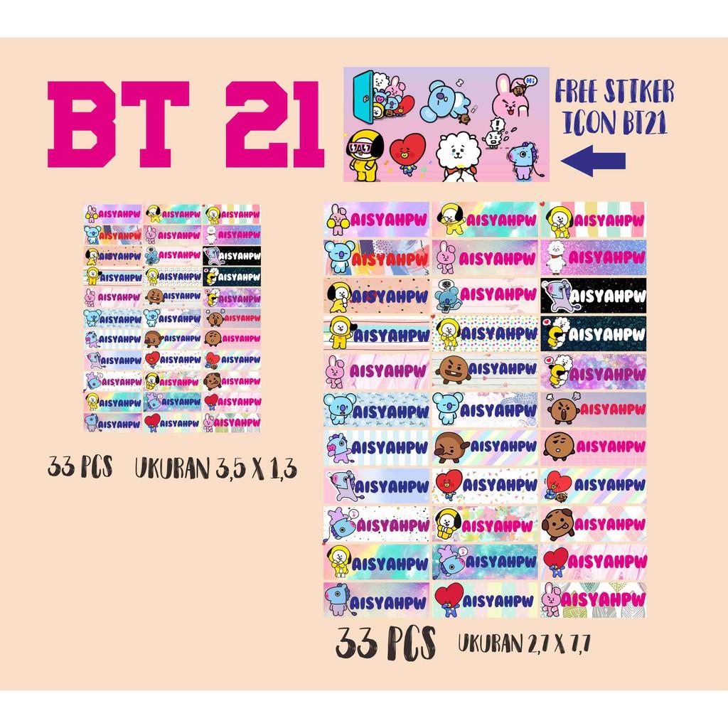 Stiker Nama Tema Bt21 Bts Fg Kpop Cute Bt21 Stickers Bt21 Stiker Karakter Murah