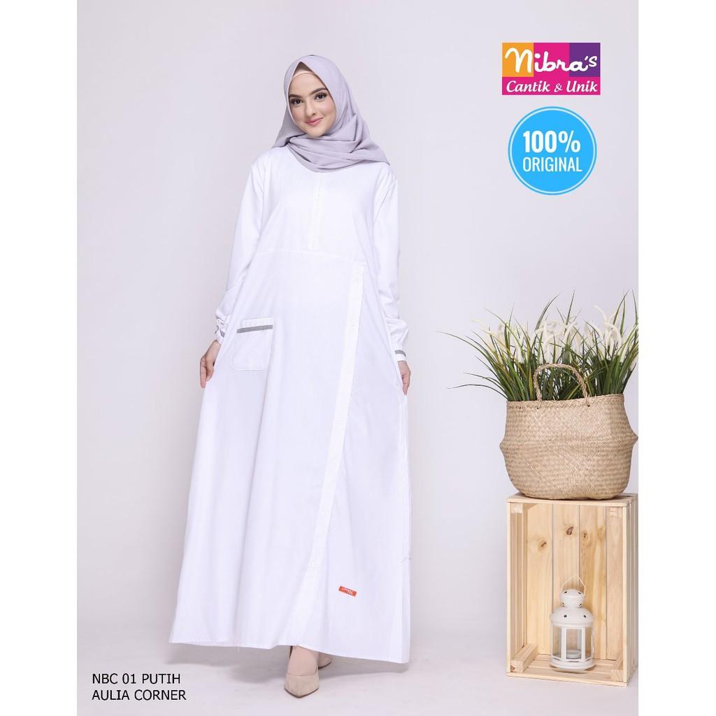 Busana Muslim Gamis Nibras NBC 11 Putih ORIGINAL Model Gamis Untuk Wanita  Dewasa
