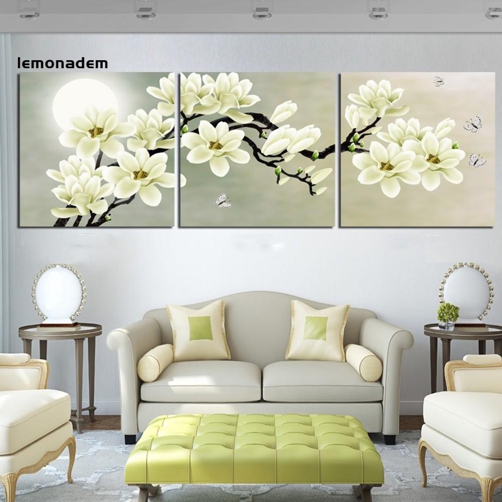 3pcs Set Unframed Painting Wall Decor Art Modern White Beautiful Flower Picture Shopee Indonesia