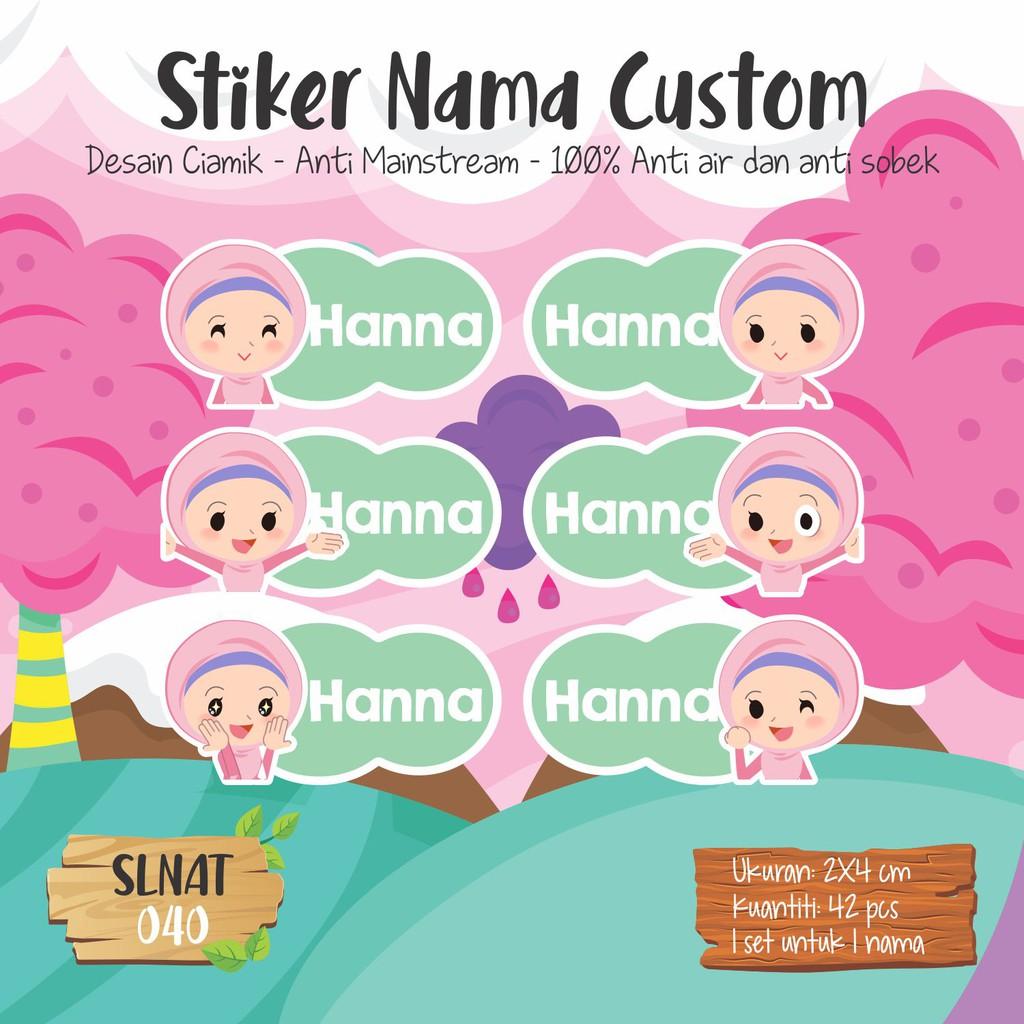 SLNAT 040 Sticker Label Nama Anak Sekolah Kartun Cute Waterproof Tahan Air Lucu Muslimah Hijab